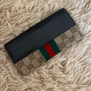 Authentic Gucci Web GG Canvas Folded Flap Wallet